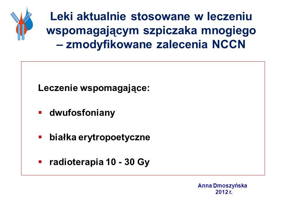 Leki aktualnie stosowane w leczeniu wspomagającym szpiczaka mnogiego – zmodyfikowane zalecenia NCCN Leczenie wspomagające: dwufosfoniany białka erytro