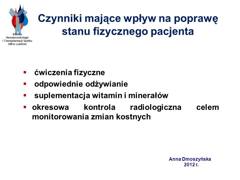 Anna Dmoszyńska 2012 r. Czynniki mające wpływ na poprawę stanu fizycznego pacjenta ćwiczenia fizyczne odpowiednie odżywianie suplementacja witamin i m