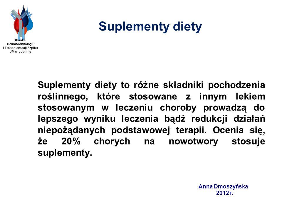 Anna Dmoszyńska 2012 r. Suplementy diety Suplementy diety to różne składniki pochodzenia roślinnego, które stosowane z innym lekiem stosowanym w lecze