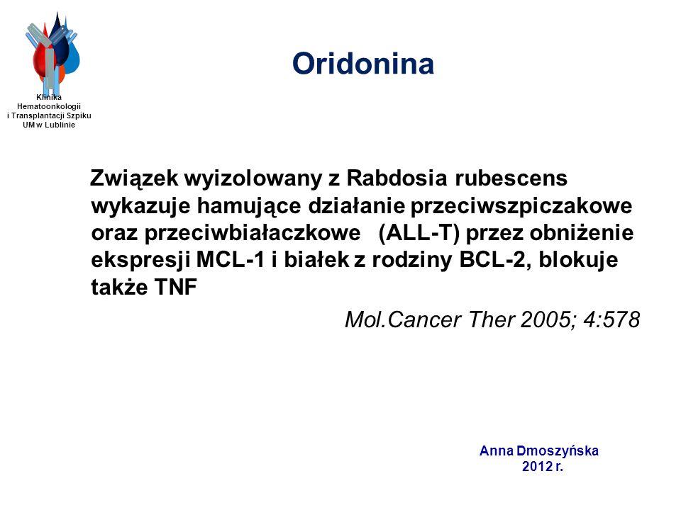 Anna Dmoszyńska 2012 r. Oridonina Związek wyizolowany z Rabdosia rubescens wykazuje hamujące działanie przeciwszpiczakowe oraz przeciwbiałaczkowe (ALL