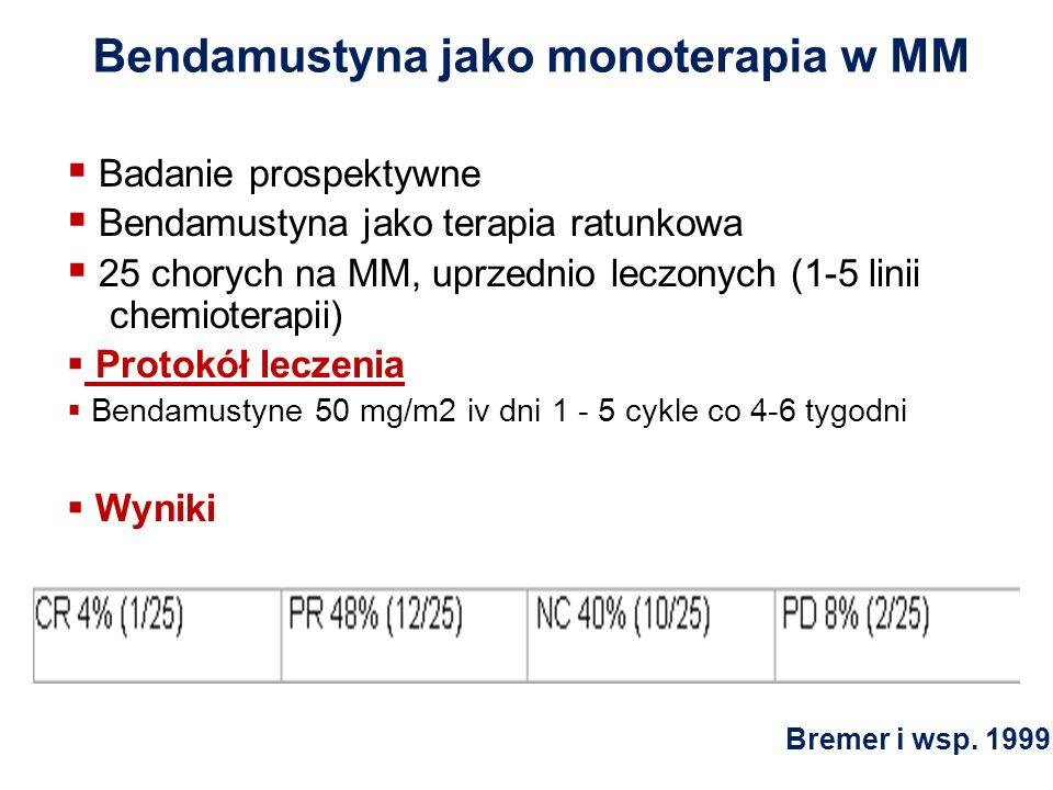 Bendamustyna jako monoterapia w MM Badanie prospektywne Bendamustyna jako terapia ratunkowa 25 chorych na MM, uprzednio leczonych (1-5 linii chemioter