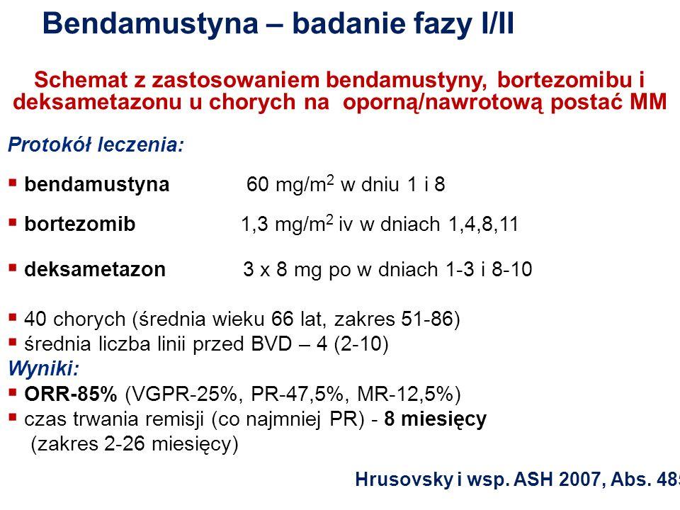 Bendamustyna – badanie fazy I/II Schemat z zastosowaniem bendamustyny, bortezomibu i deksametazonu u chorych na oporną/nawrotową postać MM Protokół le
