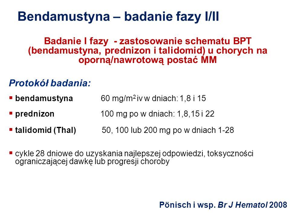 Bendamustyna – badanie fazy I/II Badanie I fazy - zastosowanie schematu BPT (bendamustyna, prednizon i talidomid) u chorych na oporną/nawrotową postać
