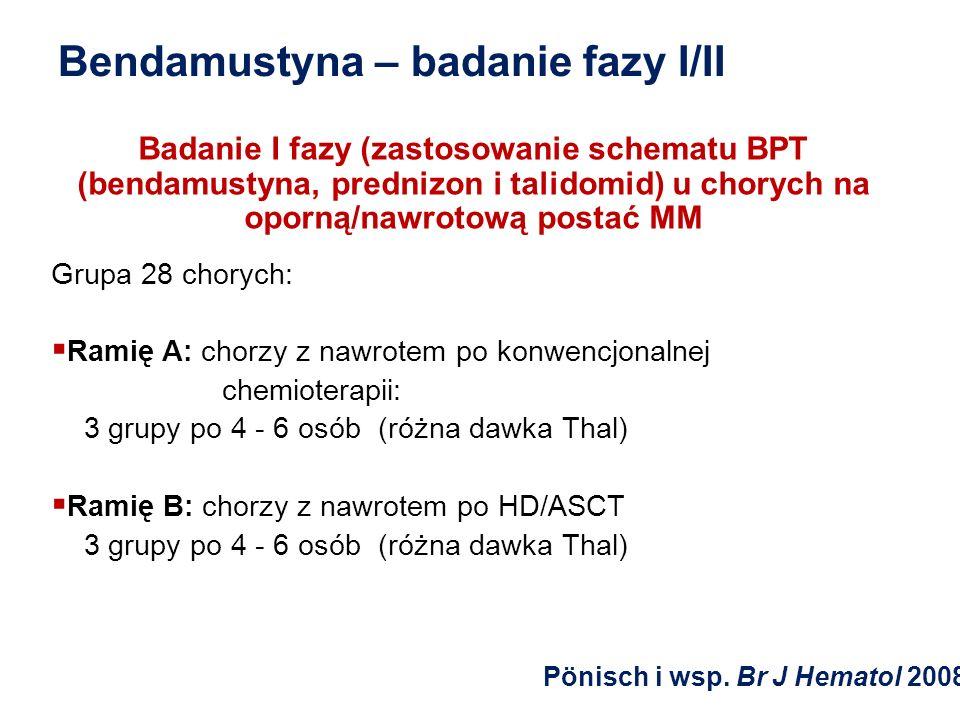 Bendamustyna – badanie fazy I/II Badanie I fazy (zastosowanie schematu BPT (bendamustyna, prednizon i talidomid) u chorych na oporną/nawrotową postać