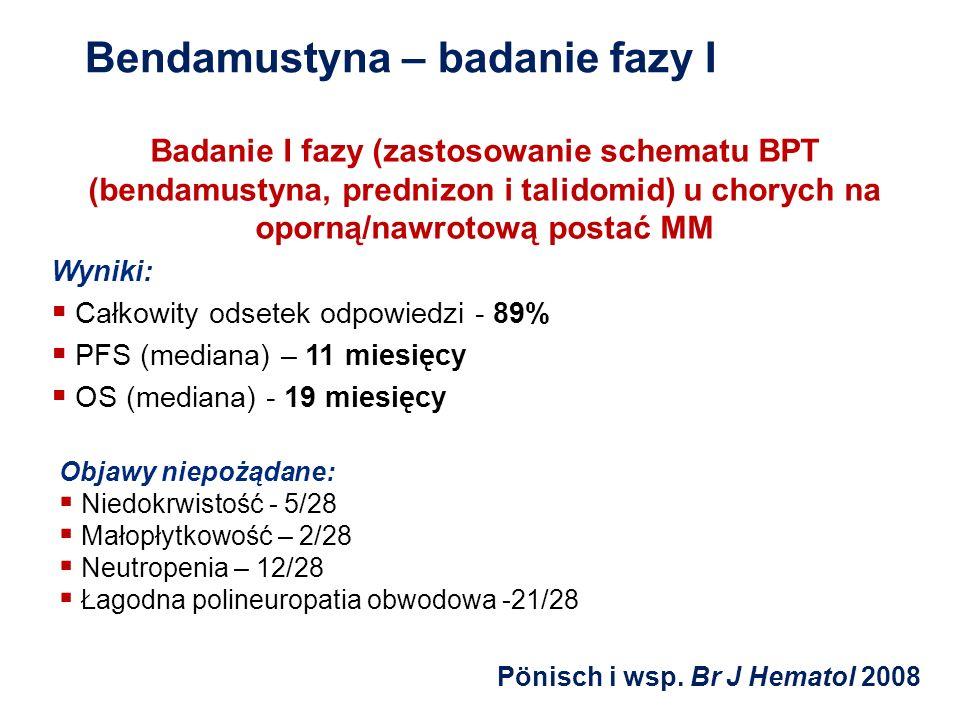 Bendamustyna – badanie fazy I Badanie I fazy (zastosowanie schematu BPT (bendamustyna, prednizon i talidomid) u chorych na oporną/nawrotową postać MM