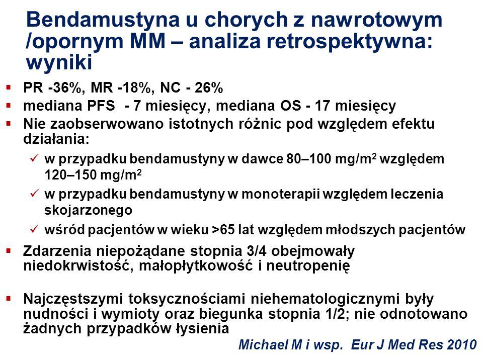 Bendamustyna u chorych z nawrotowym /opornym MM – analiza retrospektywna: wyniki PR -36%, MR -18%, NC - 26% mediana PFS - 7 miesięcy, mediana OS - 17