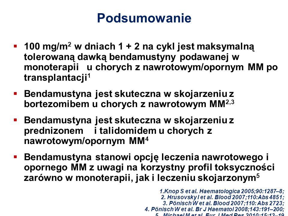 Podsumowanie 100 mg/m 2 w dniach 1 + 2 na cykl jest maksymalną tolerowaną dawką bendamustyny podawanej w monoterapii u chorych z nawrotowym/opornym MM