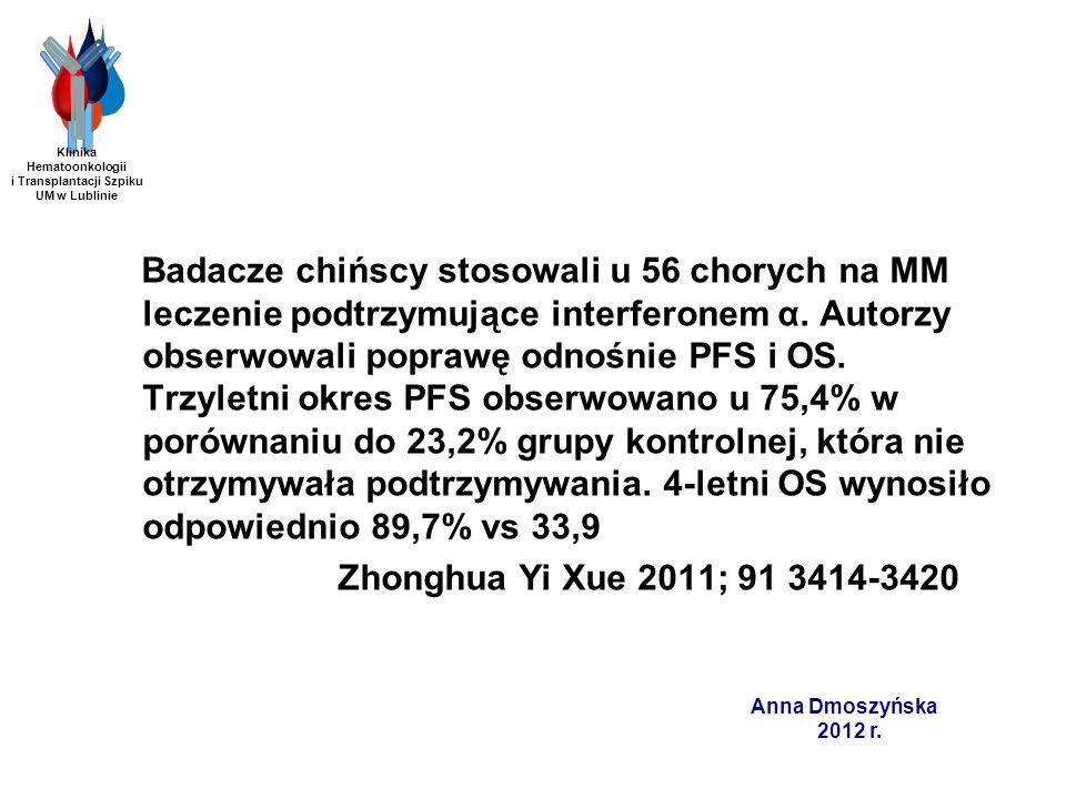 Bendamustyna – badanie fazy I/II Schemat z zastosowaniem bendamustyny, bortezomibu i deksametazonu u chorych na oporną/nawrotową postać MM Protokół leczenia: bendamustyna 60 mg/m 2 w dniu 1 i 8 bortezomib 1,3 mg/m 2 iv w dniach 1,4,8,11 deksametazon 3 x 8 mg po w dniach 1-3 i 8-10 40 chorych (średnia wieku 66 lat, zakres 51-86) średnia liczba linii przed BVD – 4 (2-10) Wyniki: ORR-85% (VGPR-25%, PR-47,5%, MR-12,5%) czas trwania remisji (co najmniej PR) - 8 miesięcy (zakres 2-26 miesięcy) Hrusovsky i wsp.