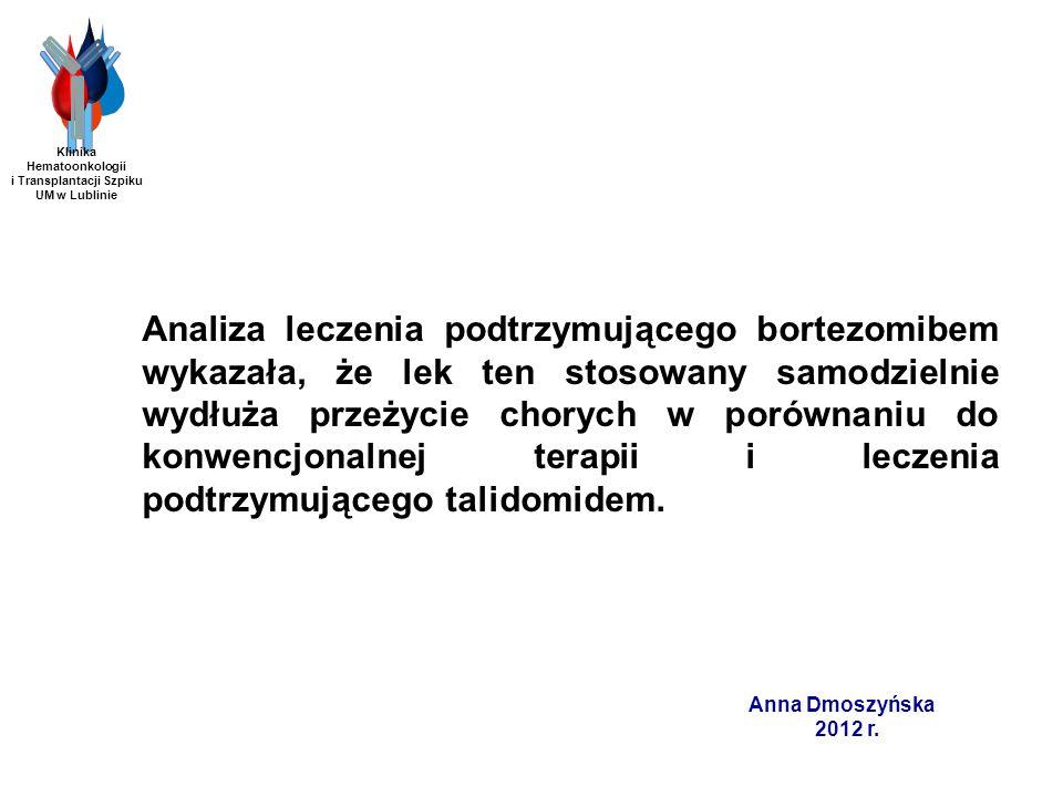 Anna Dmoszyńska 2012 r. Analiza leczenia podtrzymującego bortezomibem wykazała, że lek ten stosowany samodzielnie wydłuża przeżycie chorych w porównan
