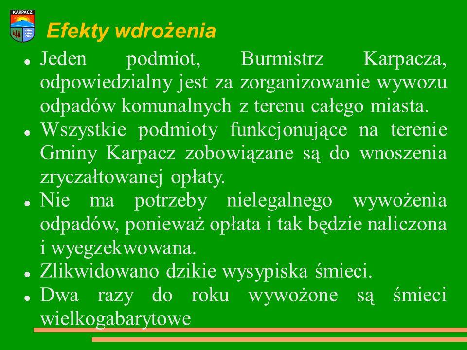 Efekty wdrożenia Jeden podmiot, Burmistrz Karpacza, odpowiedzialny jest za zorganizowanie wywozu odpadów komunalnych z terenu całego miasta. Wszystkie