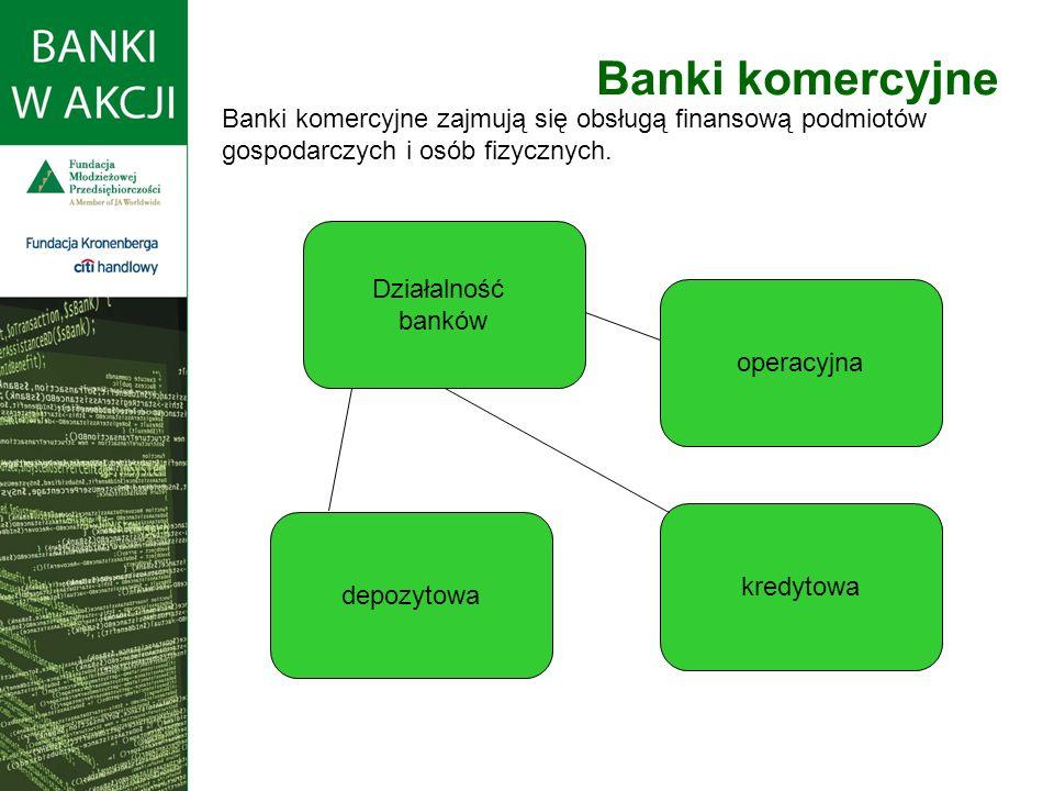 Banki komercyjne Działalność banków depozytowa kredytowa operacyjna Banki komercyjne zajmują się obsługą finansową podmiotów gospodarczych i osób fizy