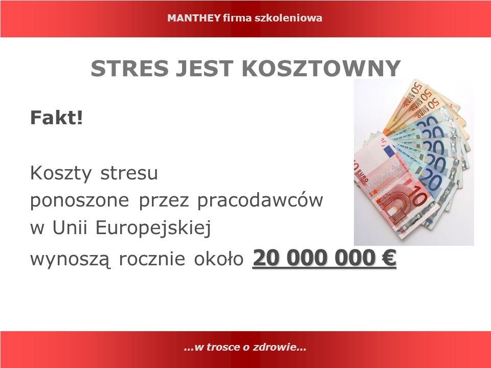 MANTHEY firma szkoleniowa …w trosce o zdrowie… STRES JEST KOSZTOWNY Fakt! Koszty stresu ponoszone przez pracodawców w Unii Europejskiej 20 000 000 wyn
