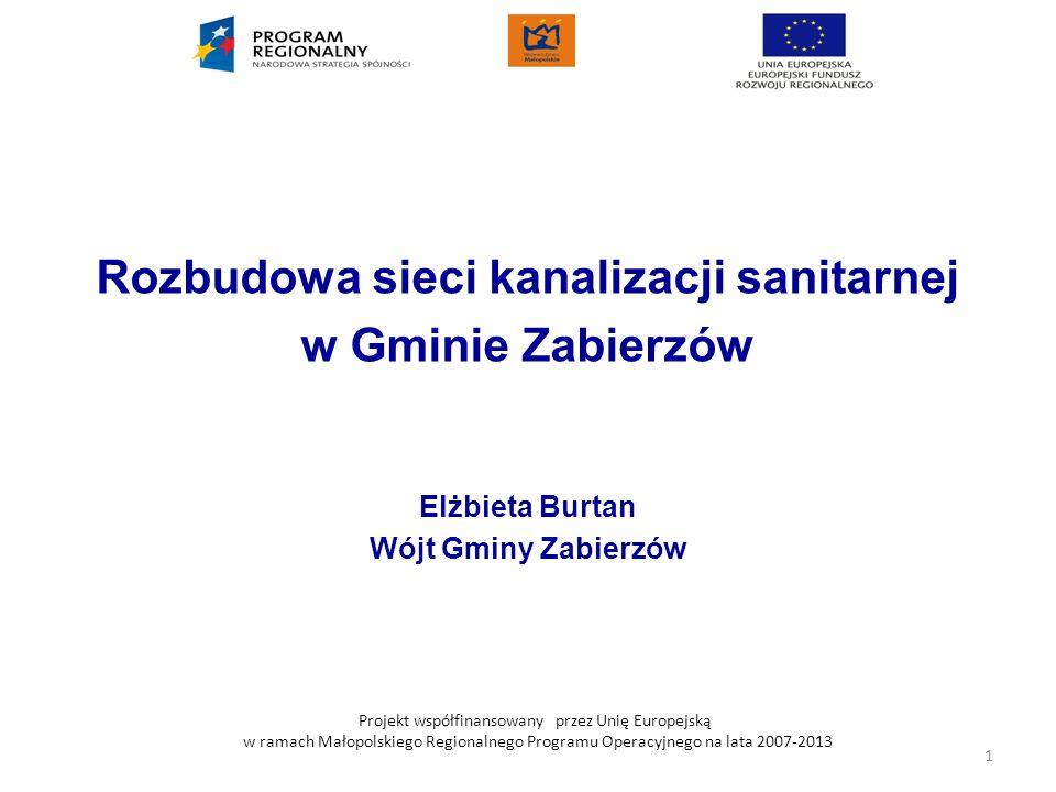 Projekt współfinansowany przez Unię Europejską w ramach Małopolskiego Regionalnego Programu Operacyjnego na lata 2007-2013 PROJEKT Rozbudowa sieci kanalizacji sanitarnej w Gminie Zabierzów w latach 2008-2009 w aglomeracjach: Zabierzów-Balice i Zabierzów - Niegoszowice Infrastruktura ochrony środowiska.