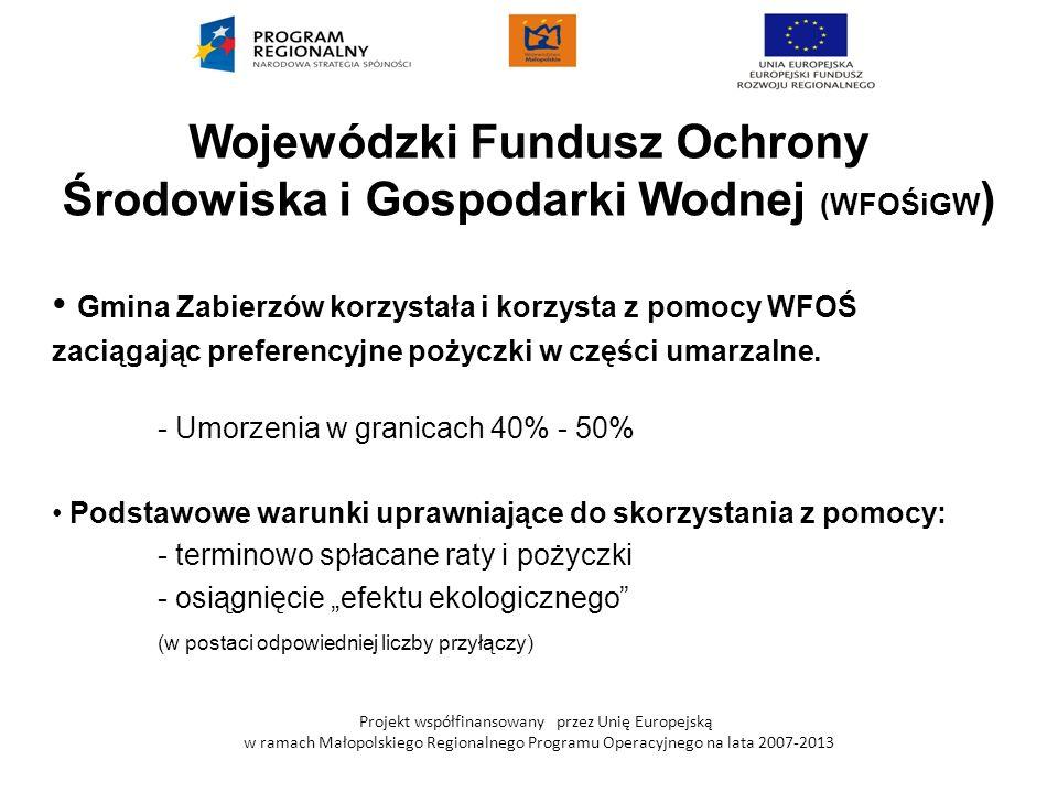 Projekt współfinansowany przez Unię Europejską w ramach Małopolskiego Regionalnego Programu Operacyjnego na lata 2007-2013 Wojewódzki Fundusz Ochrony