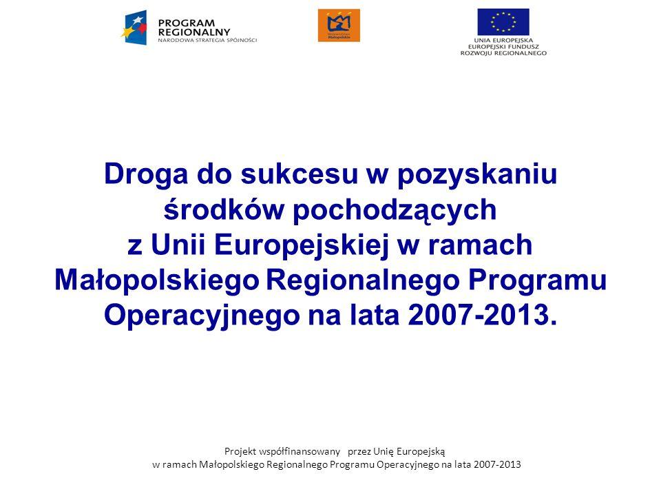 Projekt współfinansowany przez Unię Europejską w ramach Małopolskiego Regionalnego Programu Operacyjnego na lata 2007-2013 Droga do sukcesu w pozyskan