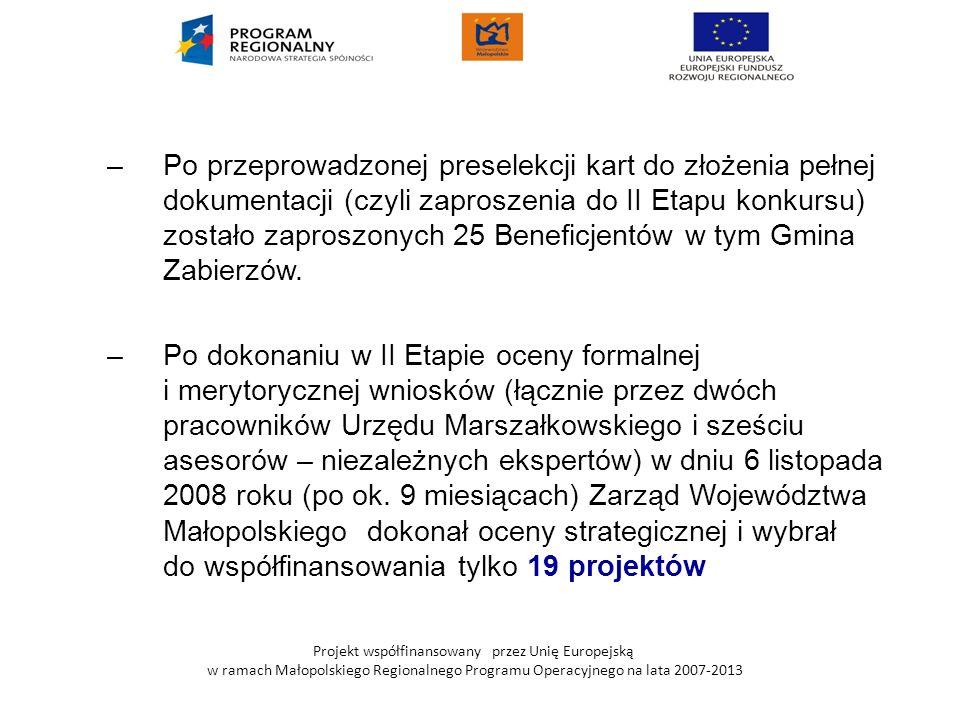 Projekt współfinansowany przez Unię Europejską w ramach Małopolskiego Regionalnego Programu Operacyjnego na lata 2007-2013 –Po przeprowadzonej presele