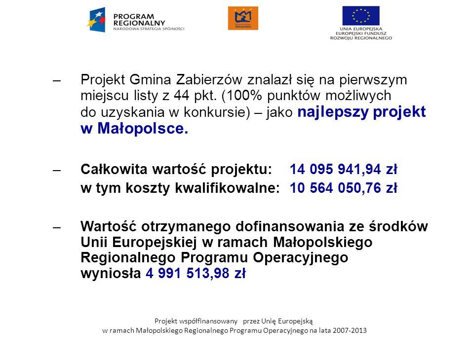 Projekt współfinansowany przez Unię Europejską w ramach Małopolskiego Regionalnego Programu Operacyjnego na lata 2007-2013 –Projekt Gmina Zabierzów zn