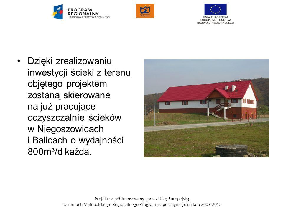 Projekt współfinansowany przez Unię Europejską w ramach Małopolskiego Regionalnego Programu Operacyjnego na lata 2007-2013 Dzięki zrealizowaniu inwest