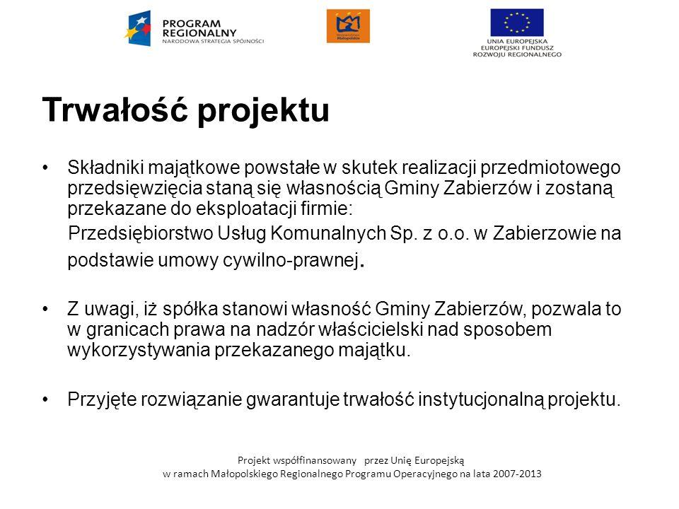 Projekt współfinansowany przez Unię Europejską w ramach Małopolskiego Regionalnego Programu Operacyjnego na lata 2007-2013 Trwałość projektu Składniki