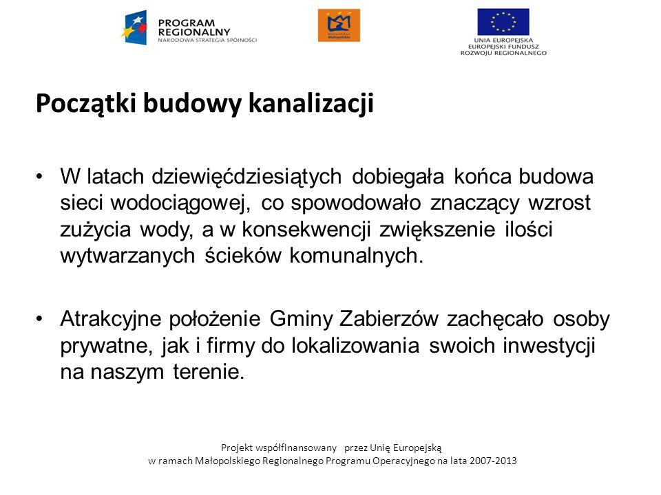 Projekt współfinansowany przez Unię Europejską w ramach Małopolskiego Regionalnego Programu Operacyjnego na lata 2007-2013 CELE PROJEKTU: Poprawa standardu życia mieszkańców Gminy Zabierzów, Wyposażenie terenów wiejskich w infrastrukturę w zakresie ochrony środowiska (sieć kanalizacyjna).