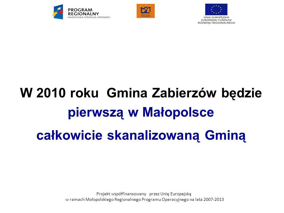 Projekt współfinansowany przez Unię Europejską w ramach Małopolskiego Regionalnego Programu Operacyjnego na lata 2007-2013 W 2010 roku Gmina Zabierzów