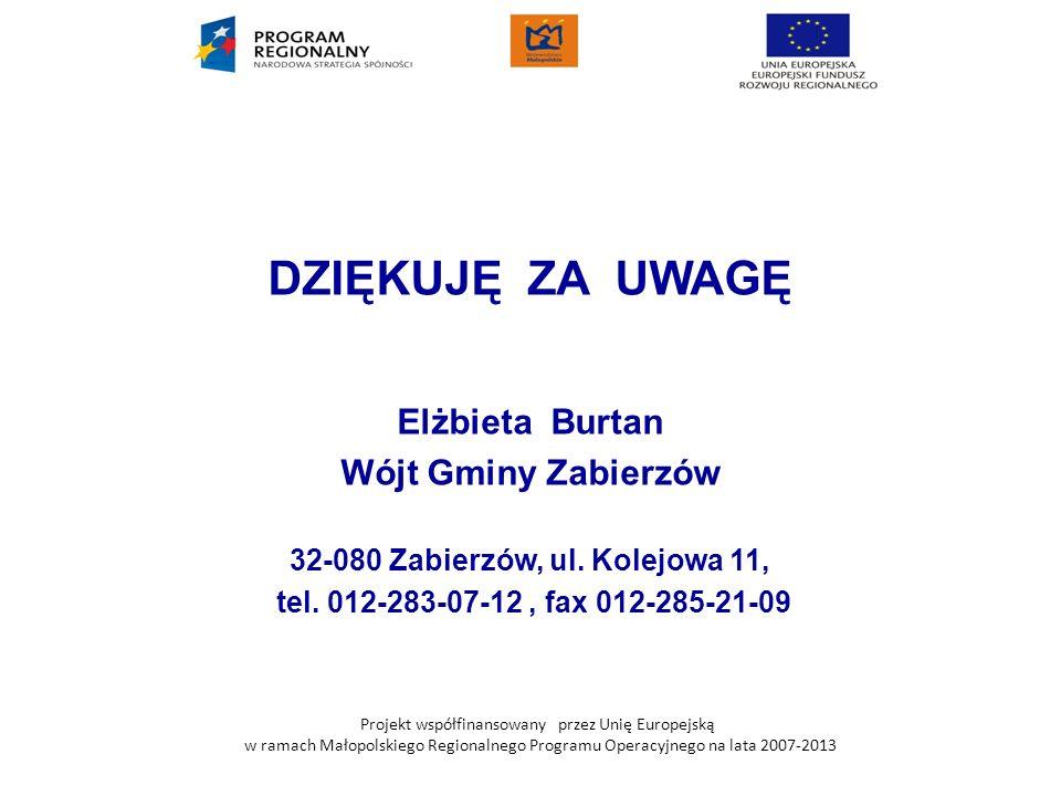 Projekt współfinansowany przez Unię Europejską w ramach Małopolskiego Regionalnego Programu Operacyjnego na lata 2007-2013 DZIĘKUJĘ ZA UWAGĘ Elżbieta