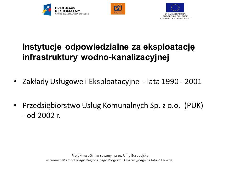 Projekt współfinansowany przez Unię Europejską w ramach Małopolskiego Regionalnego Programu Operacyjnego na lata 2007-2013 Trwałość projektu Składniki majątkowe powstałe w skutek realizacji przedmiotowego przedsięwzięcia staną się własnością Gminy Zabierzów i zostaną przekazane do eksploatacji firmie: Przedsiębiorstwo Usług Komunalnych Sp.