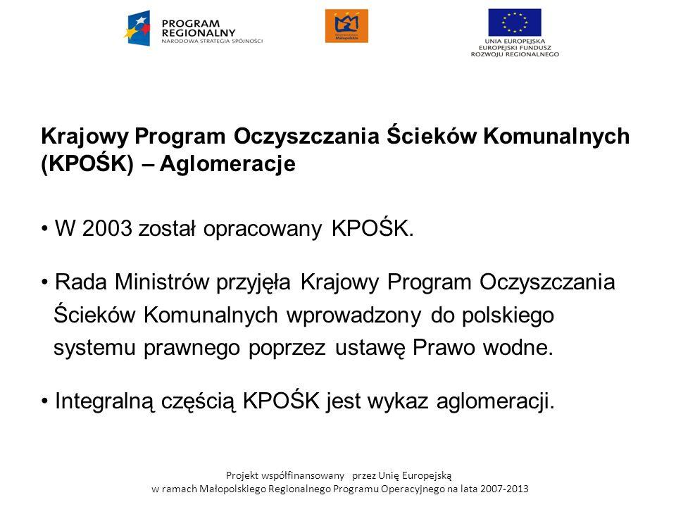 Projekt współfinansowany przez Unię Europejską w ramach Małopolskiego Regionalnego Programu Operacyjnego na lata 2007-2013 Krajowy Program Oczyszczania Ścieków Komunalnych (KPOŚK) – Aglomeracje Gmina Zabierzów została podzielona na trzy aglomeracje: I AGLOMERACJA Zabierzów-Balice z OS w Balicach o przepustowości 800m³/dobę II AGLOMERACJA Zabierzów-Niegoszowice z OS w Niegoszowicach o przepustowości 800m³/dobę wraz z OS Zelków o przepustowości150m³/dobę wraz z OS Radwanowice o przepustowości 220m³/dobę III AGLOMERACJA Kraków (zrzut ścieków do kanalizacji m.