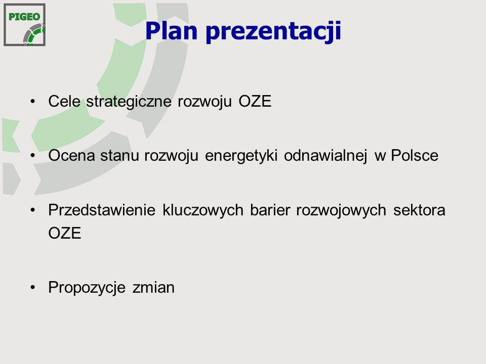 Cele strategiczne dla Polski 2010 7,5% (OZE) dyrektywa 2001/77/WE, 27.09.2001 udziału energii elektrycznej wytwarzanej w OZE w łącznym zużyciu energii elektrycznej brutto 2020 15% (OZE) dyrektywa 2009/28/WE, 23.04.2009 udziału energii odnawialnej w bilansie finalnej energii brutto 2030 20% (OZE) Polityka Energetyczna Polski 2030 udziału energii odnawialnej w bilansie finalnej energii brutto unijne: krajowe: