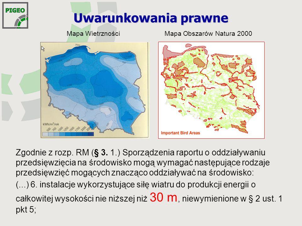 Mapa WietrznościMapa Obszarów Natura 2000 Uwarunkowania prawne Zgodnie z rozp.