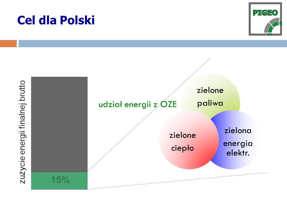 zielone paliwa zielona energia elektr. zielone ciepło 15% udział energii z OZE zużycie energii finalnej brutto Cel dla Polski