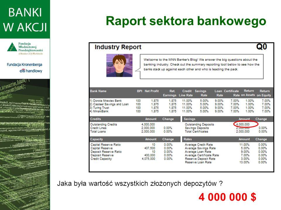 Jaka była wartość wszystkich złożonych depozytów ? 4 000 000 $ Raport sektora bankowego