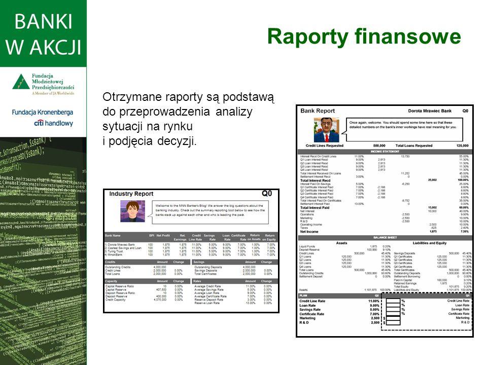 Raporty finansowe Otrzymane raporty są podstawą do przeprowadzenia analizy sytuacji na rynku i podjęcia decyzji.