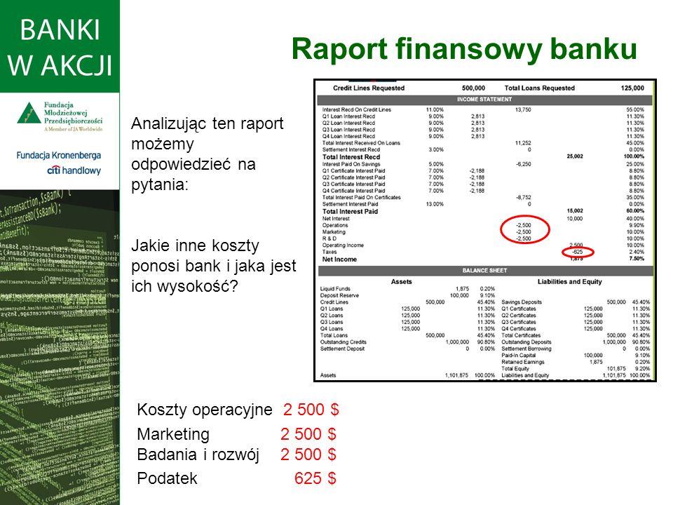 Analizując ten raport możemy odpowiedzieć na pytania: Jakie inne koszty ponosi bank i jaka jest ich wysokość.