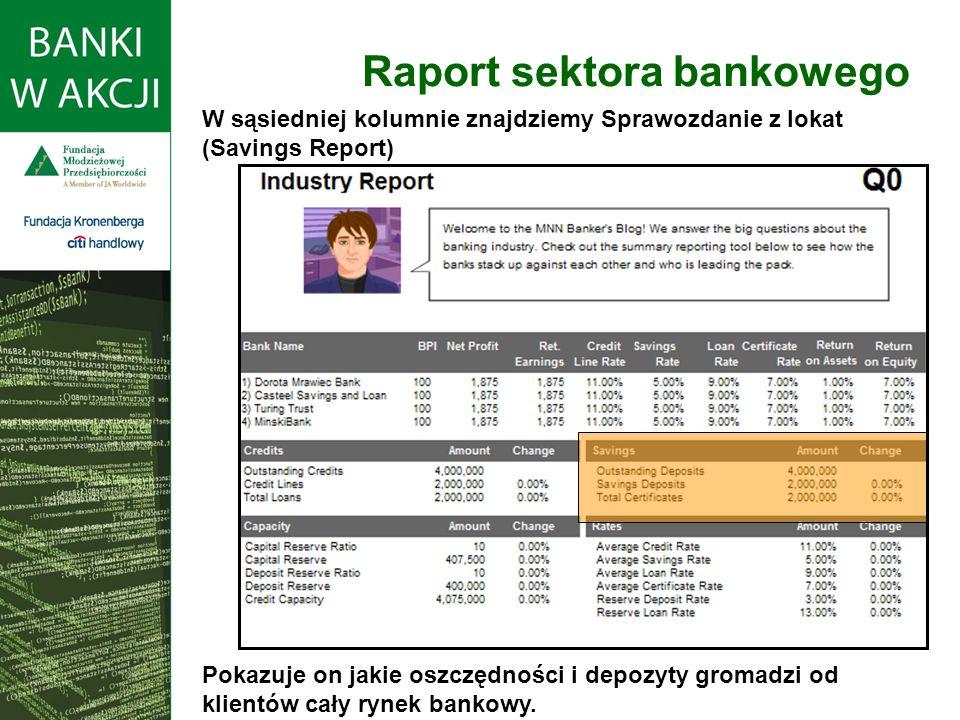 Raport sektora bankowego W sąsiedniej kolumnie znajdziemy Sprawozdanie z lokat (Savings Report) Pokazuje on jakie oszczędności i depozyty gromadzi od