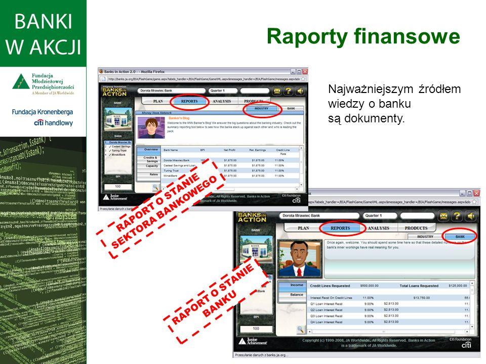 Raporty finansowe RAPORT O STANIE SEKTORA BANKOWEGO RAPORT O STANIE BANKU Najważniejszym źródłem wiedzy o banku są dokumenty.