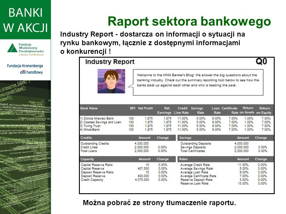 Raport sektora bankowego Industry Report - dostarcza on informacji o sytuacji na rynku bankowym, łącznie z dostępnymi informacjami o konkurencji ! Moż