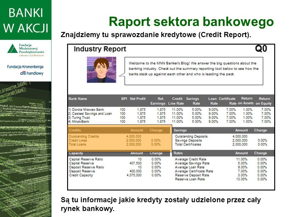 Raport sektora bankowego Znajdziemy tu sprawozdanie kredytowe (Credit Report). Są tu informacje jakie kredyty zostały udzielone przez cały rynek banko