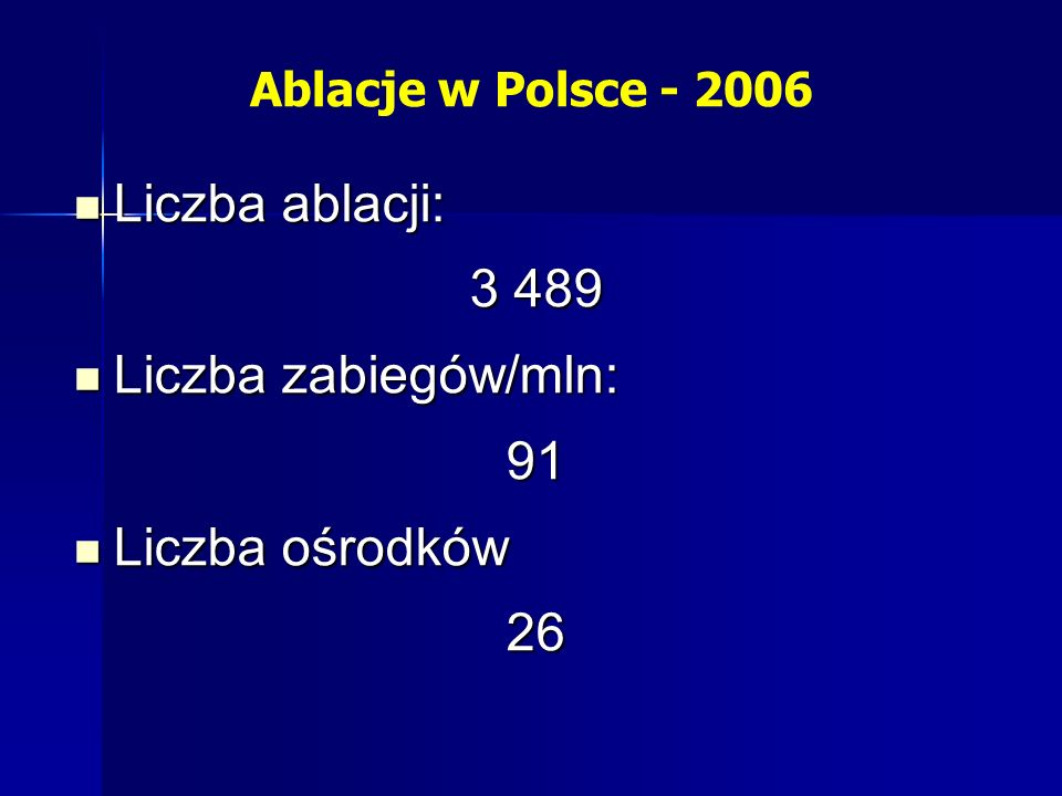 Ablacje w Polsce - 2006 Liczba ablacji: Liczba ablacji: 3 489 Liczba zabiegów/mln: Liczba zabiegów/mln:91 Liczba ośrodków Liczba ośrodków26