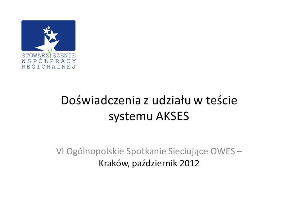 Doświadczenia z udziału w teście systemu AKSES VI Ogólnopolskie Spotkanie Sieciujące OWES – Kraków, październik 2012