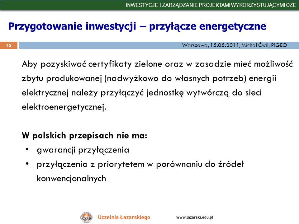 Przygotowanie inwestycji – przyłącze energetyczne INWESTYCJE I ZARZĄDZANIE PROJEKTAMI WYKORZYSTUJĄCYMI OZE 15 Warszawa, 15.05.2011, Michał Ćwil, PIGEO