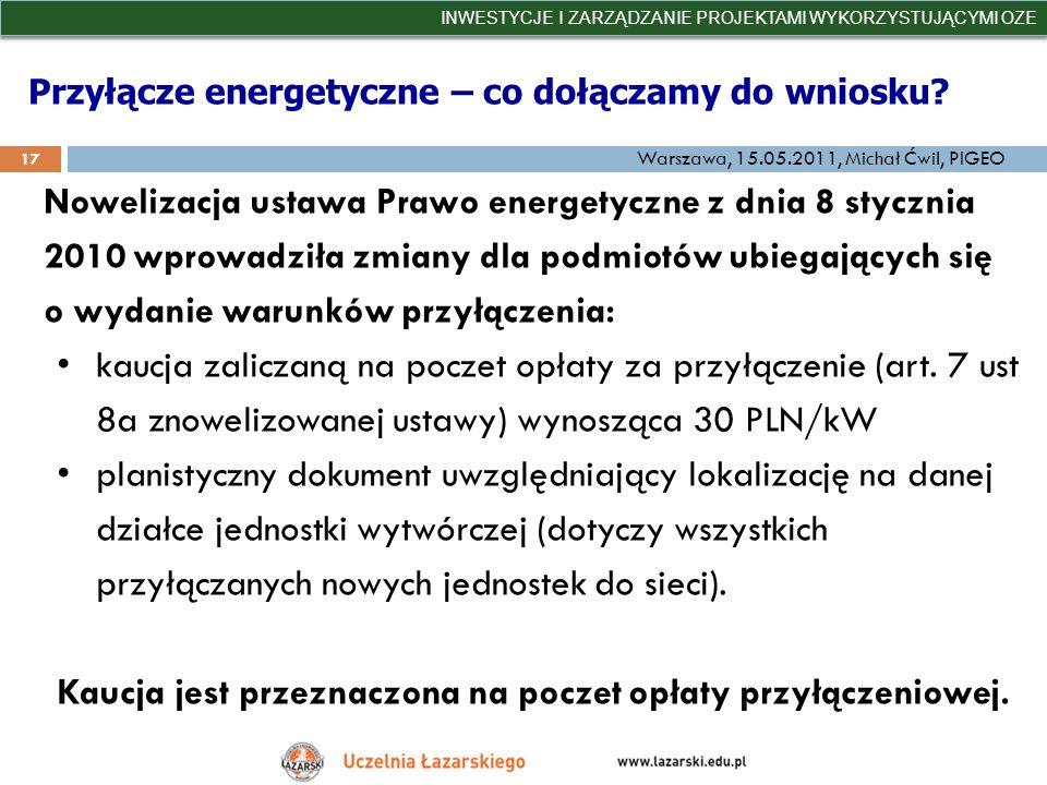 Przyłącze energetyczne – co dołączamy do wniosku? INWESTYCJE I ZARZĄDZANIE PROJEKTAMI WYKORZYSTUJĄCYMI OZE 17 Warszawa, 15.05.2011, Michał Ćwil, PIGEO