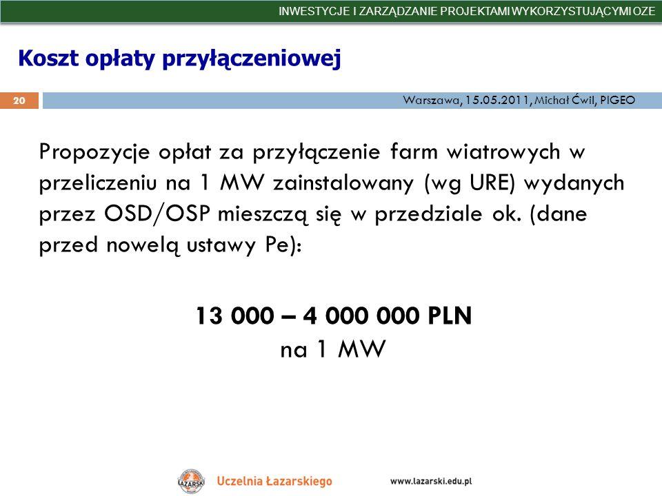 Koszt opłaty przyłączeniowej INWESTYCJE I ZARZĄDZANIE PROJEKTAMI WYKORZYSTUJĄCYMI OZE 20 Warszawa, 15.05.2011, Michał Ćwil, PIGEO Propozycje opłat za