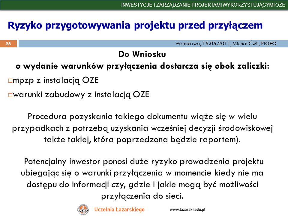 Ryzyko przygotowywania projektu przed przyłączem INWESTYCJE I ZARZĄDZANIE PROJEKTAMI WYKORZYSTUJĄCYMI OZE 23 Warszawa, 15.05.2011, Michał Ćwil, PIGEO