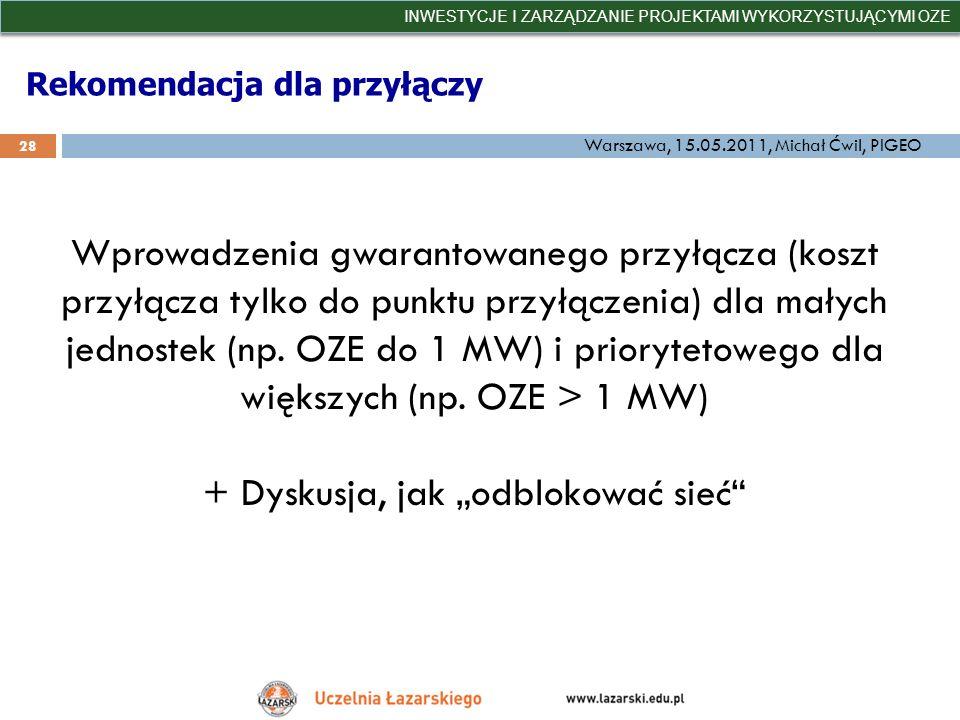 Rekomendacja dla przyłączy INWESTYCJE I ZARZĄDZANIE PROJEKTAMI WYKORZYSTUJĄCYMI OZE 28 Warszawa, 15.05.2011, Michał Ćwil, PIGEO Wprowadzenia gwarantow