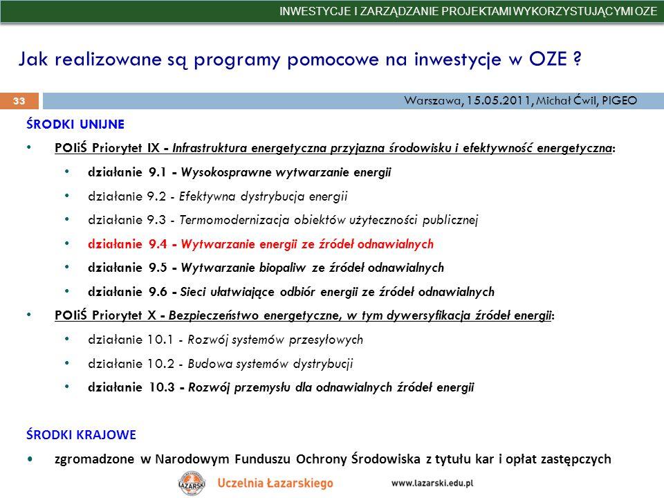 Jak realizowane są programy pomocowe na inwestycje w OZE ? INWESTYCJE I ZARZĄDZANIE PROJEKTAMI WYKORZYSTUJĄCYMI OZE 33 Warszawa, 15.05.2011, Michał Ćw