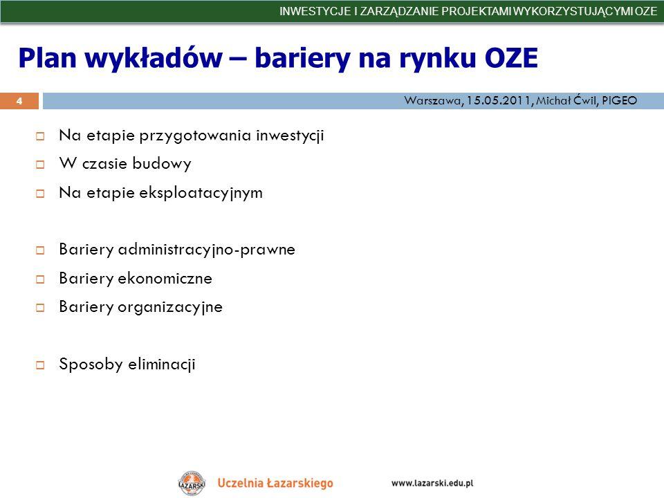 Plan wykładów – bariery na rynku OZE Na etapie przygotowania inwestycji W czasie budowy Na etapie eksploatacyjnym Bariery administracyjno-prawne Barie