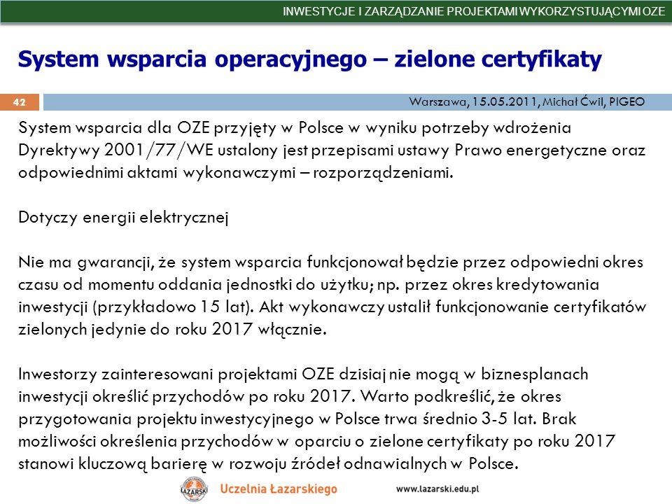 System wsparcia operacyjnego – zielone certyfikaty INWESTYCJE I ZARZĄDZANIE PROJEKTAMI WYKORZYSTUJĄCYMI OZE 42 Warszawa, 15.05.2011, Michał Ćwil, PIGE