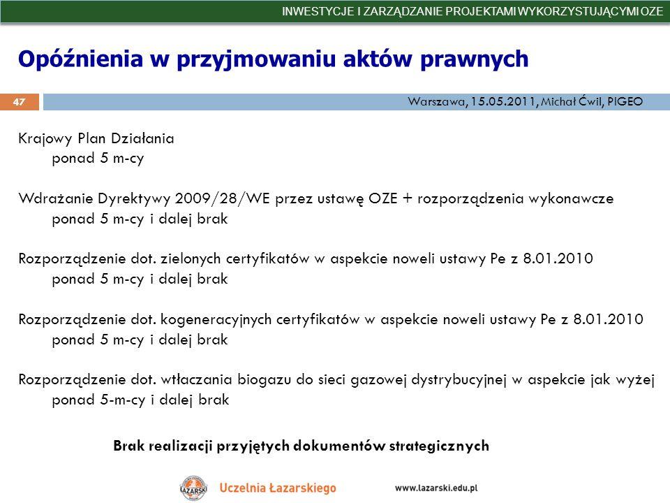 Opóźnienia w przyjmowaniu aktów prawnych INWESTYCJE I ZARZĄDZANIE PROJEKTAMI WYKORZYSTUJĄCYMI OZE 47 Warszawa, 15.05.2011, Michał Ćwil, PIGEO Krajowy