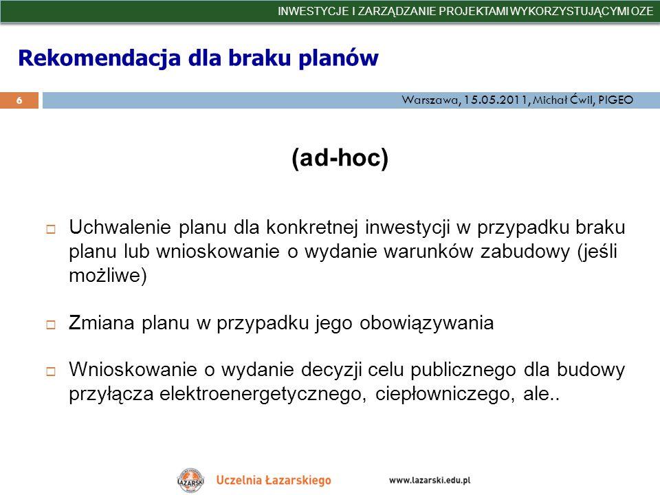 Rekomendacja dla braku planów (ad-hoc) Uchwalenie planu dla konkretnej inwestycji w przypadku braku planu lub wnioskowanie o wydanie warunków zabudowy